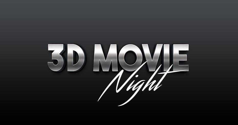 Vettore di tipografia 3D con stili di film