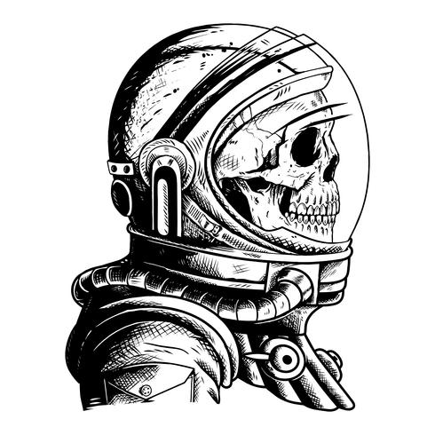 teschio astronout illustrazione tshirt design