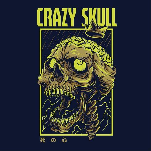 diseño de camiseta de ilustración de vector de cráneo loco
