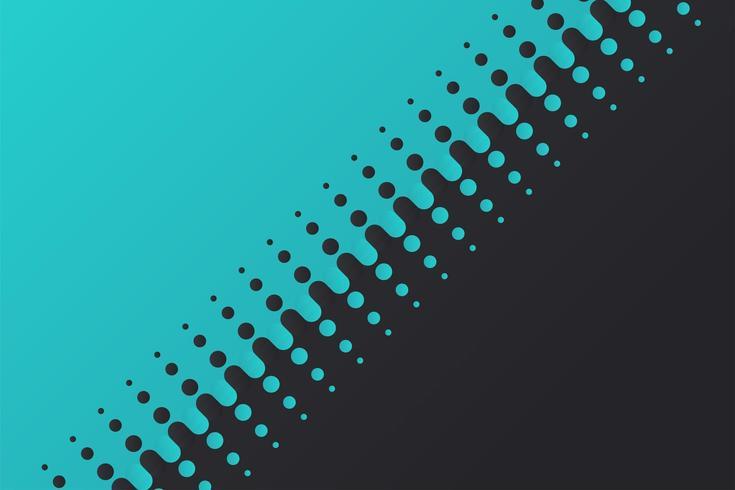 Halftone vectorachtergrond verdeelt blauwe en zwarte bollen die geleidelijk vervagen.