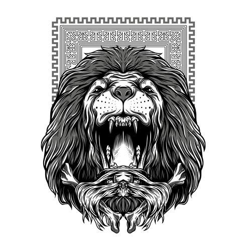 le lion rugit illustration de tshirt illustration noir et blanc