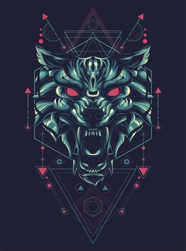 disegno geometrico della maglietta dell'illustrazione di vettore del lupo