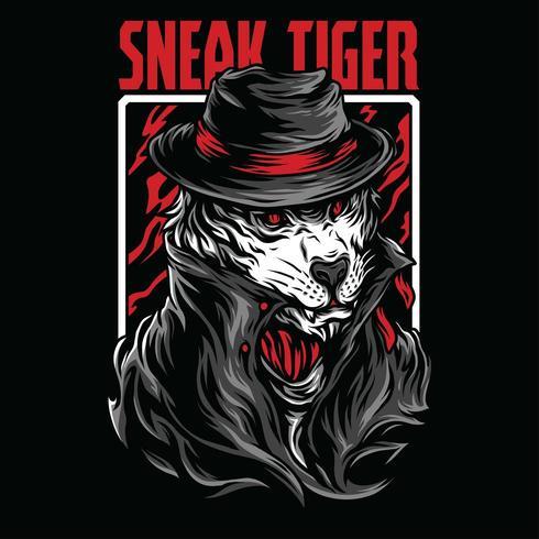 sneak tiger vector illustration tshirt design