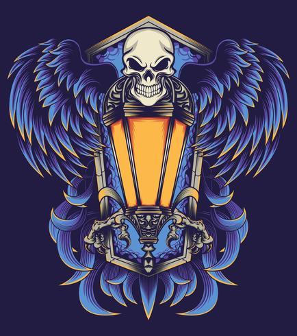 Ilustración de cartel volador de cráneo