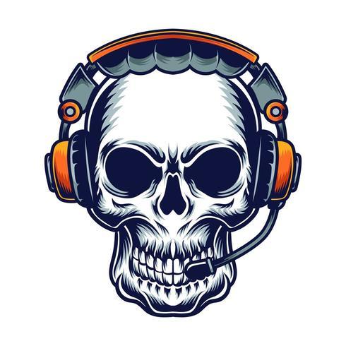 cráneo con diseño de camiseta de ilustración vectorial de auriculares