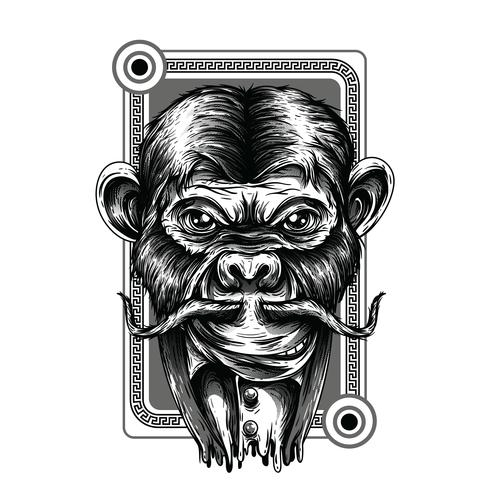Ontwerp van de de illustratiet-shirt van de chimpansee het zwart-witte vector