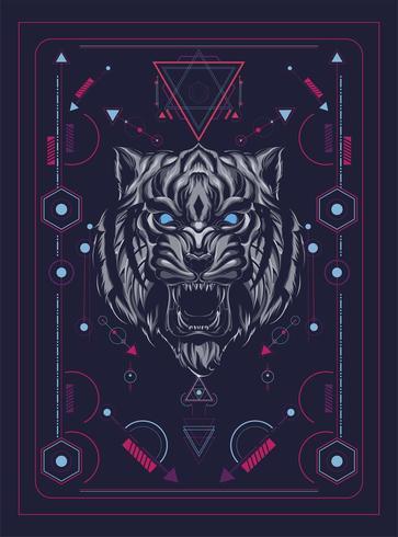 illustration vectorielle de tête de tigre coloré