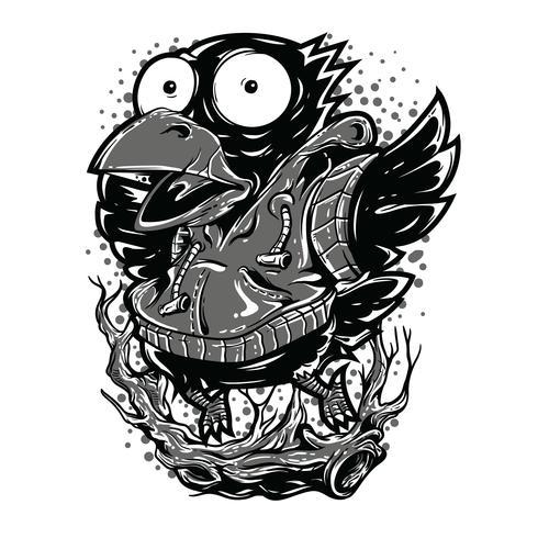 Ontwerp van de de illustratiet-shirt van de vogel het zwart-witte