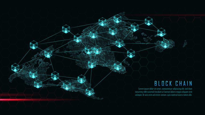 Blockchain con concepto de conexión global vector
