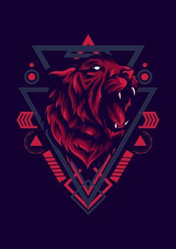 desenho de tatuagem de ilustração vetorial de cabeça de tigre vetor