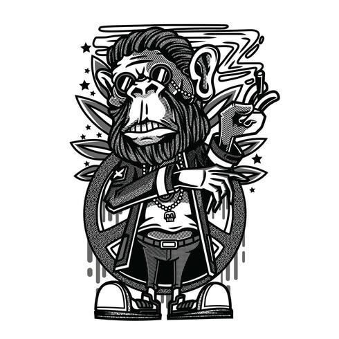 vetor de macaco preto e branco