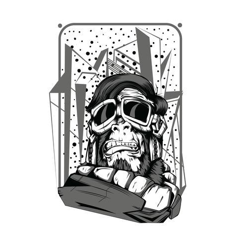 spazio scimmia illustrazione in bianco e nero tshirt design