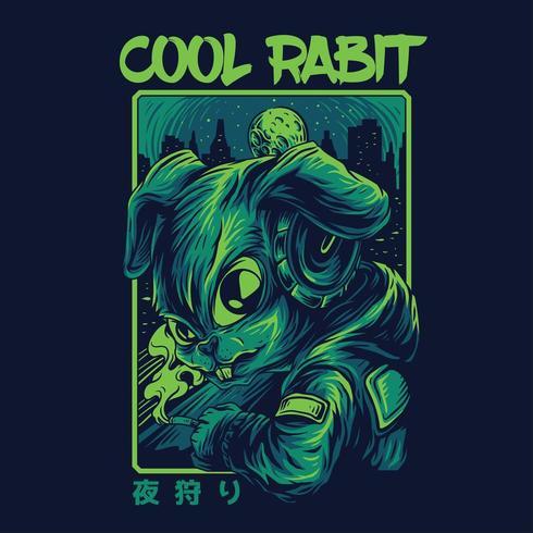 progettazione della maglietta dell'illustrazione di vettore del coniglio