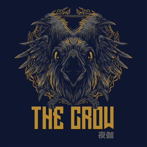 diseño de camiseta de ilustración vectorial de cuervo vector