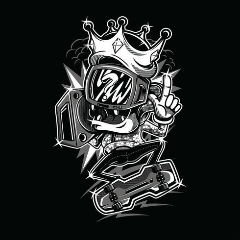 Skater design illustrazione tshirt in bianco e nero
