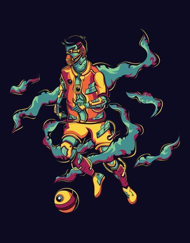 Abstrakter Mann, der Fußball spielt