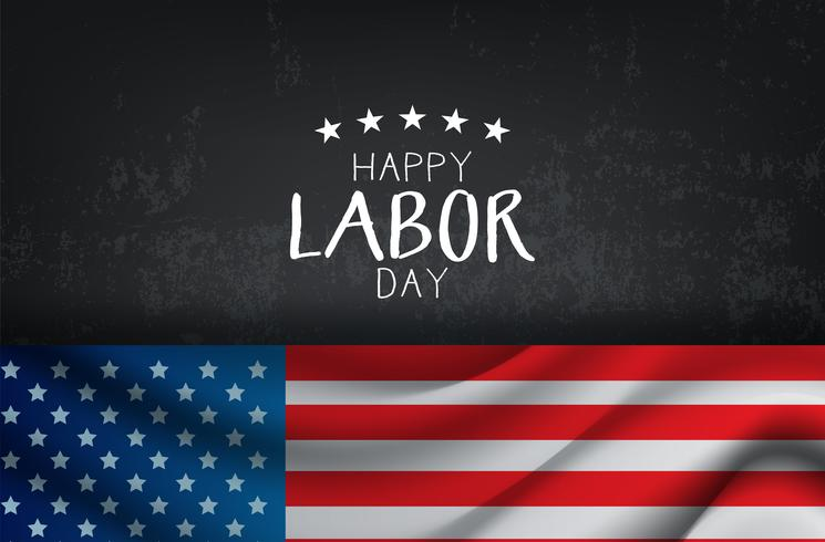 Feliz día del trabajo tarjeta con bandera americana vector