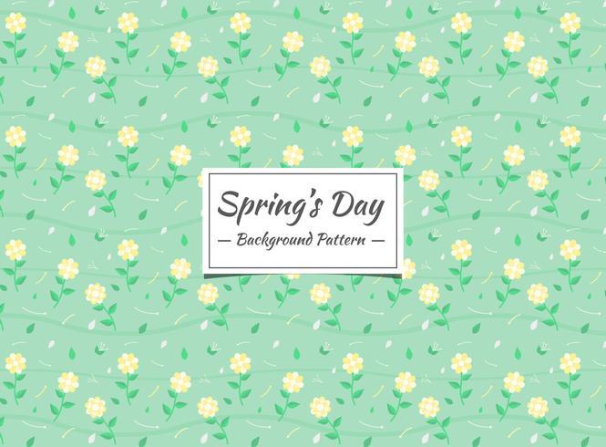 Teste padrão floral amarelo primavera com fundo verde
