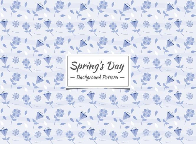Primavera floral azul de patrones sin fisuras