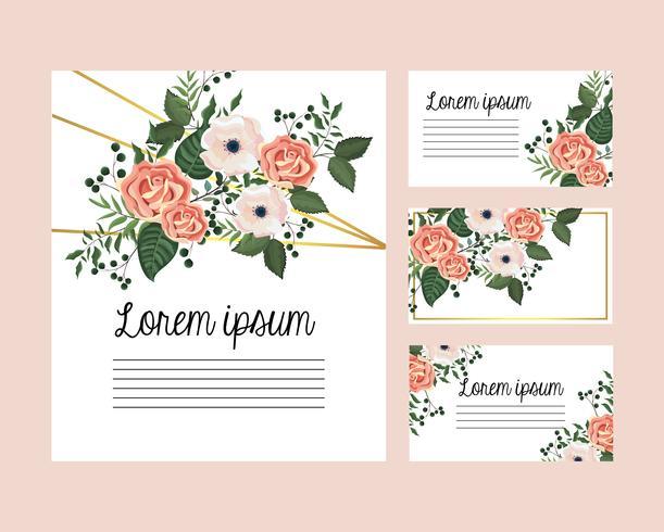Conjunto de cartões com rosas e flores