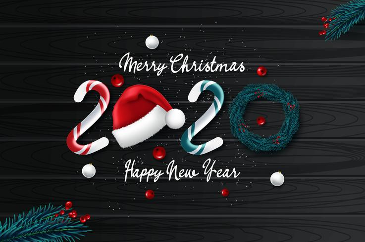 2020 new year card with Christmas background