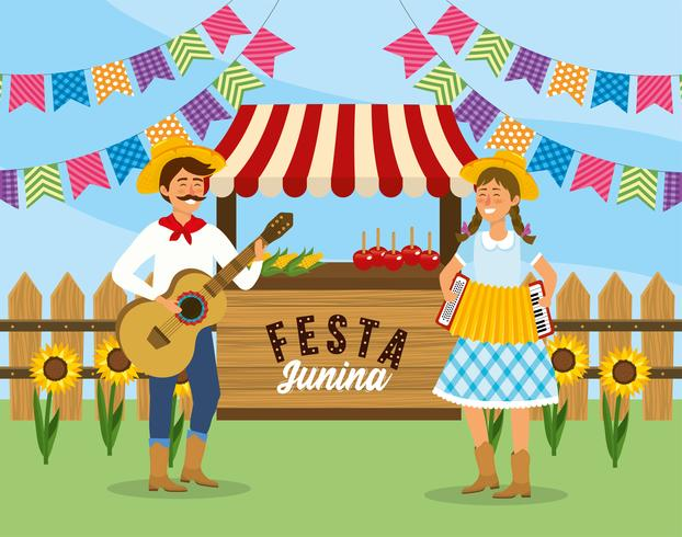 Homem e mulher com violão e acordeão Festa Junina vetor