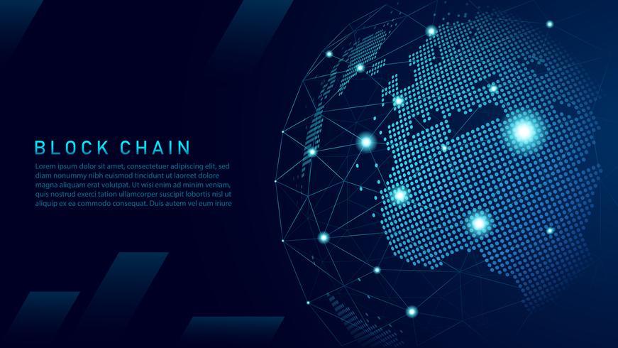 Tecnología blockchain con concepto de conexión global. vector