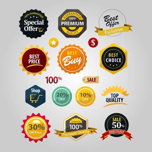 Etiqueta Desconto Premium Logotipo Sinal Símbolo Ícone Distintivo vetor
