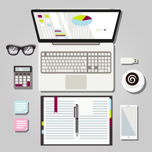 Laptop Workspace Graphic Illustration vector