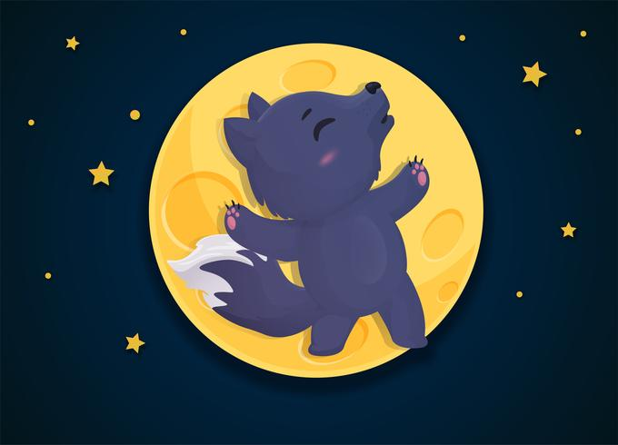 Werewolf cartoon that transforms into a fox on the full moon night.