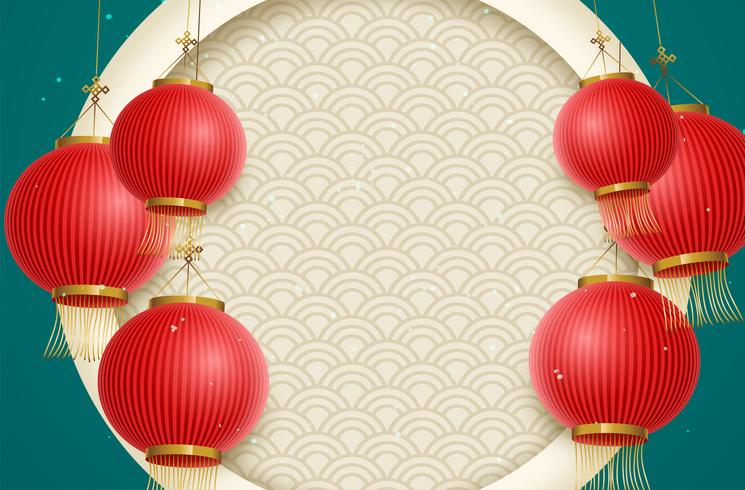 Traditionele maanjaarachtergrond met hangende lantaarns en bloemen