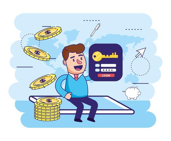 Mann im Smartphone mit Münzen und Passwort