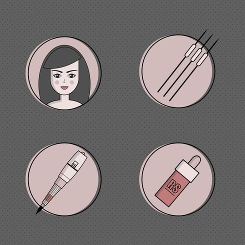 Utrustning för permanent make-up ikonuppsättning