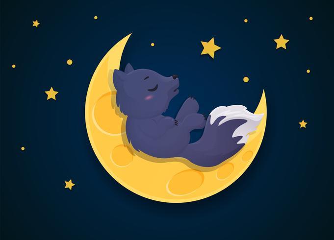 Weerwolf cartoon op een volle maan nacht.