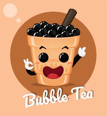 Chá com leite com bolha de leite