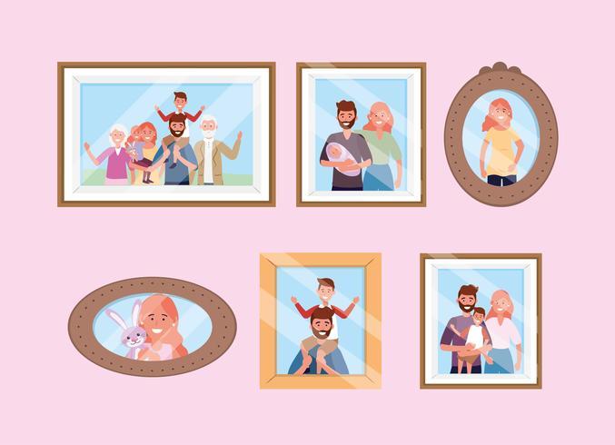Parede de memórias de imagens de família feliz