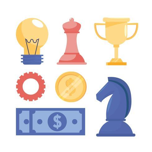 Conjunto de objetos y elementos de estrategia empresarial vector