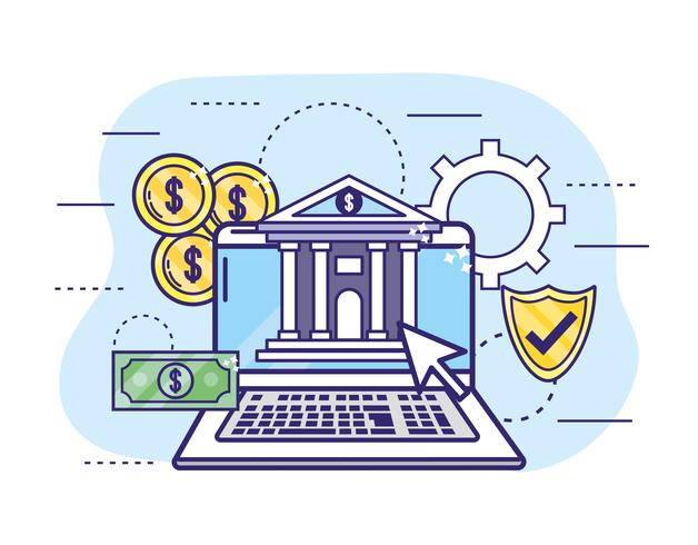 Laptop mit Münzen und Schild zum Online-Banking