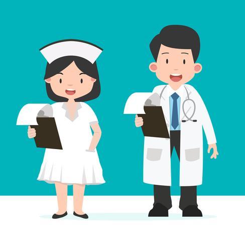 Enfermera y doctor con portapapeles vector