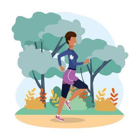 Mujer corriendo en el paisaje vector