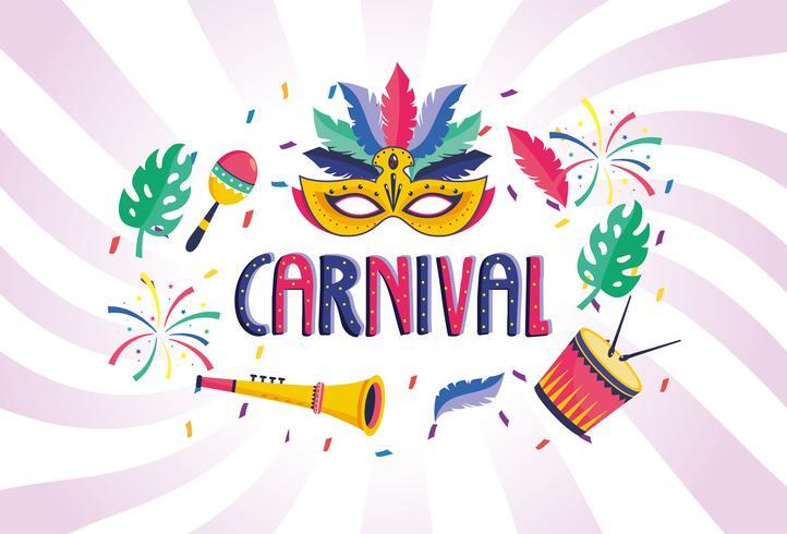 Affiche de carnaval avec instruments de musique et masque vecteur