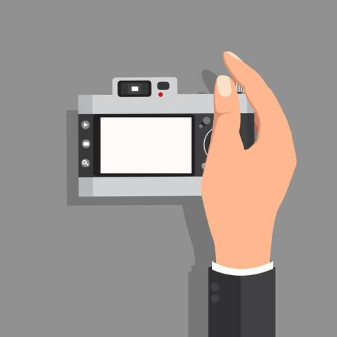 hand hold with camera vintage vector