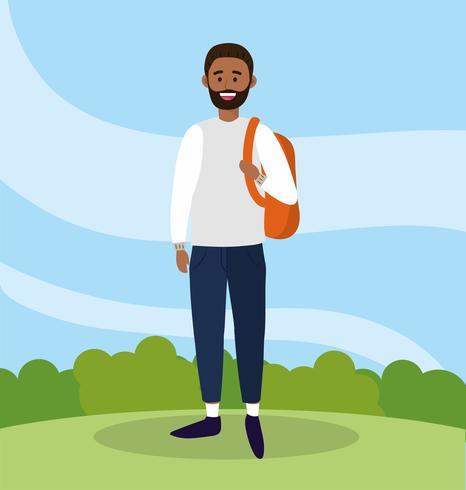 homem de universidade com barba e mochila para estudar