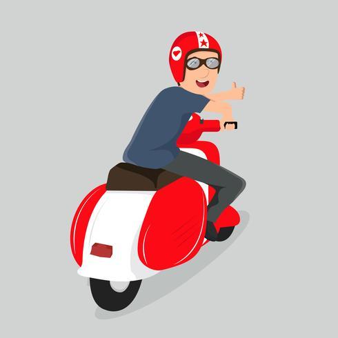 Giovane ragazzo che guida scooter rosso
