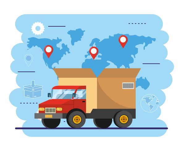Bestelwagen met grote doos achterop met wereldkaart