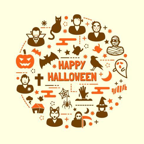 halloween night icons set vector