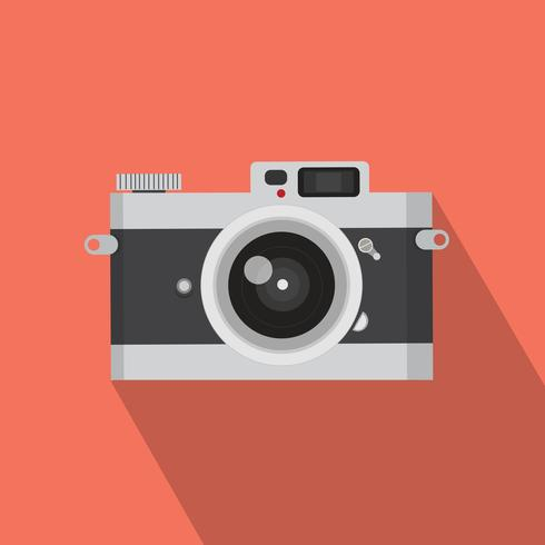 vintage camera  with long shadow vector