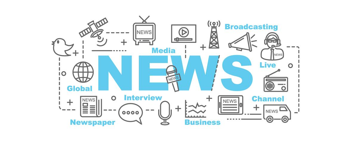 news banner with line art icons vector