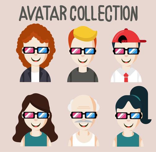 pessoas de avatar com coleção de óculos