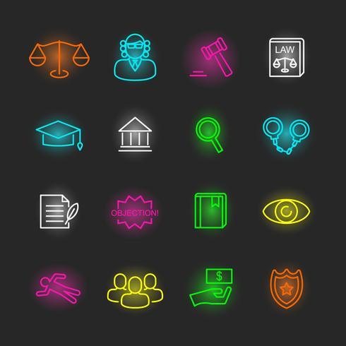 law neon icon set vector